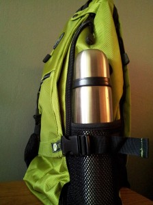 Aurorae-yoga-mat-backpack-side-view-thermos